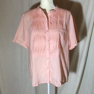 Dialogue pink short sleeve button Down Top